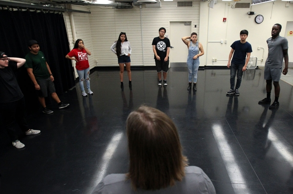 Improvisational Mind Students receiving instructions for performing at their impromptu final!